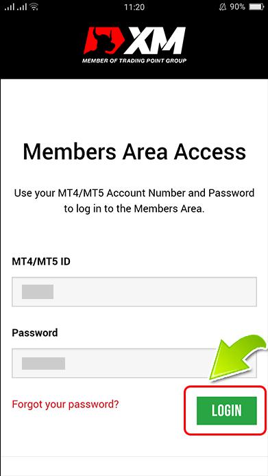 XM Member log-in