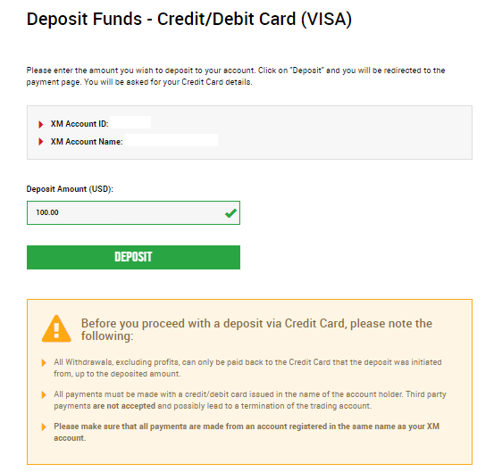 deposit to XM Group by credit card/debit card (visa)