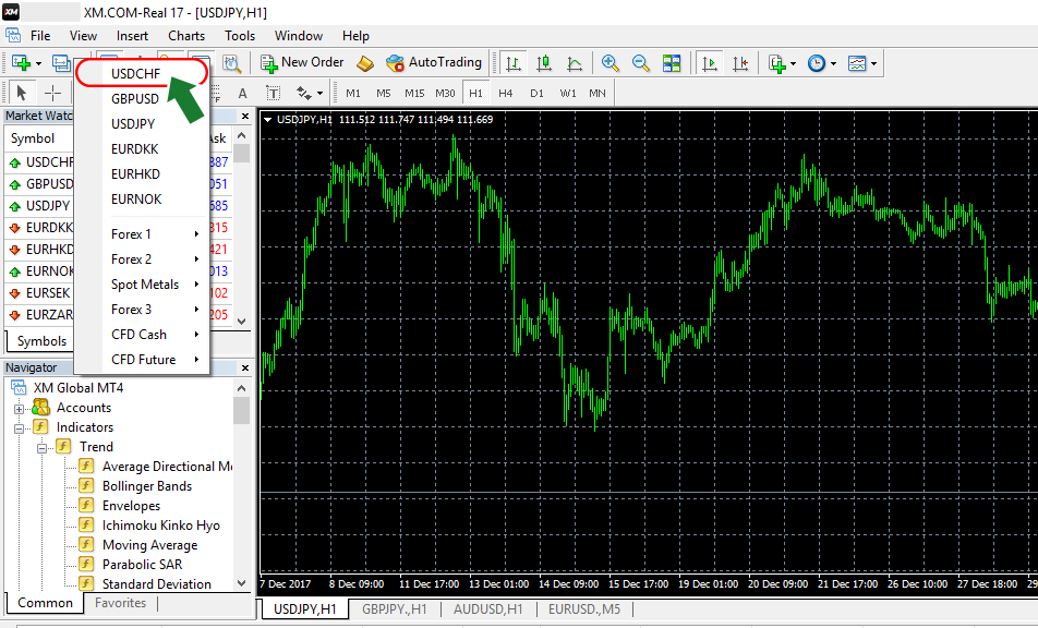 Select the preferred currency pair