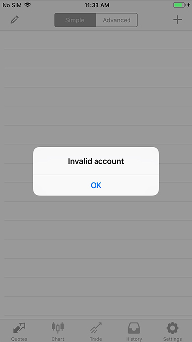 Invalid account