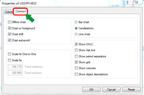 copy customized chart settings to another chart