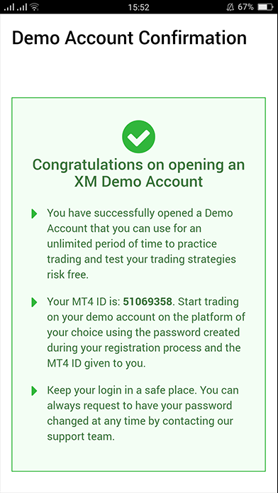 confirm demo account