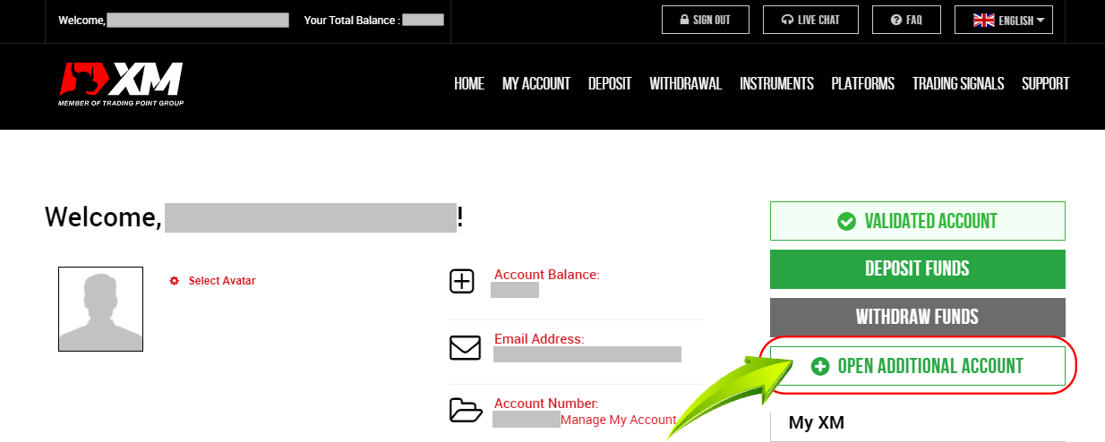 Click to select additional accounts