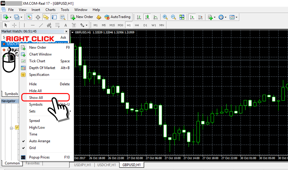 Show all currency pairs on XM MT4