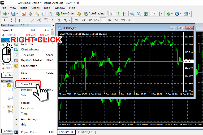 Show all currency pairs on MT4